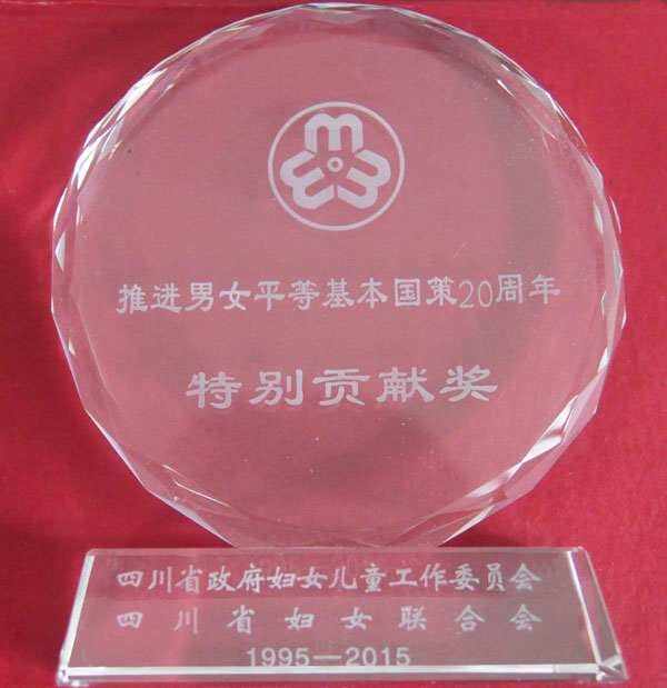 队获四川省推进男女平等基本国策20周年特别贡献奖